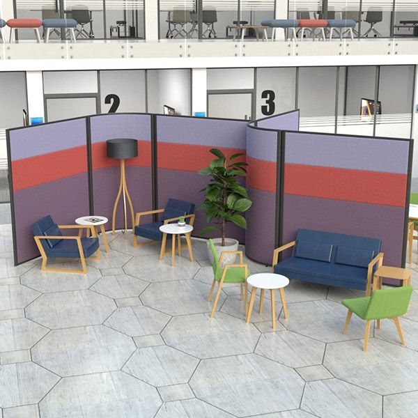 Concept 3 Part Fabric Acoustic Partitions, using 12mm acoustic foam to help with noise volumes.