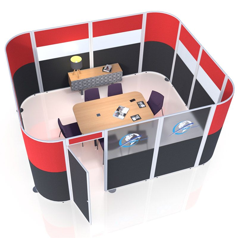 Esteem Acoustic Pod, with added custom branding you can create a meeting space within your open plan office