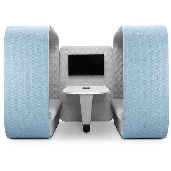 Cocoon Media Booth with white table and 2 x cocoon high back sofas