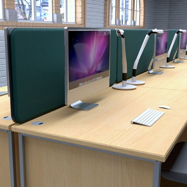 Delta Deluxe Desk partition, with acoustic foam and upholstered with acoustic fabric