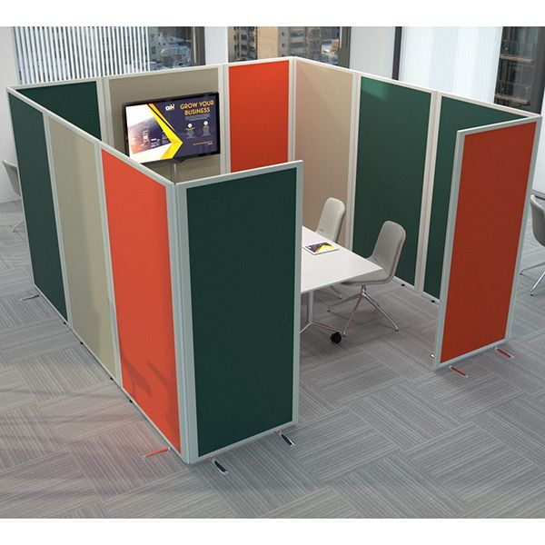 anti-bacterial pod, made with safeguard office partitions, using anti-bacterial fabric