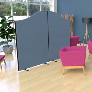 Budget Acoustic Office Screens with a wavetop stylish finish, using acoustic foam and upholstered with blue fabric