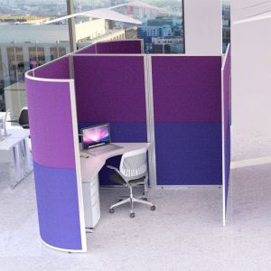 2.4m wide work space pod, using acoustic concept partition screens