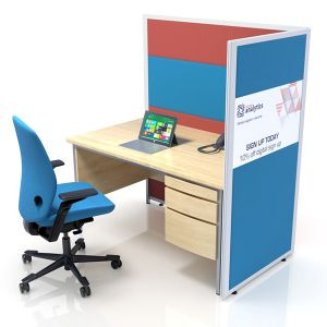Concept acoustic  office screens with printed glazed middle panel