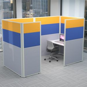 Concept acoustic office partitions have been linked together to create a single working acoustic booth.