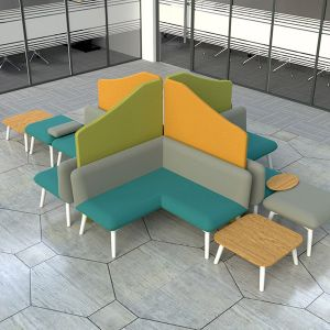 Wavetop acoustic office screens created in a cross shape for separating seating areas