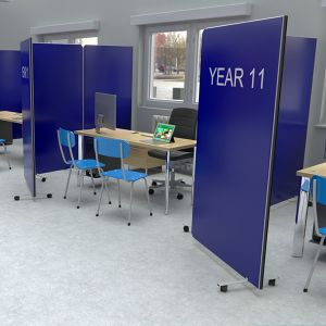 Printed Flexi-Screen room dividers, used for social distancing