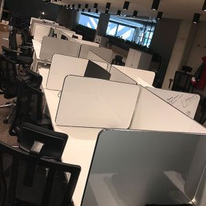 social distancing laminate desktop dividers, white gloss finish