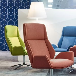 Kruze High Back Lounge Chair fully upholstered in fabric