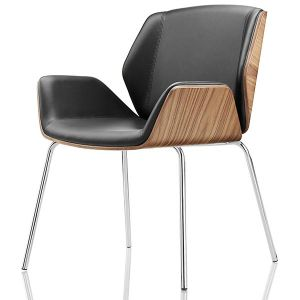 Kruze Chair with 4-leg Chrome legs, finished in Walnut outershell with leather seat