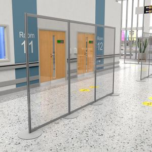 free standing perspex social distancing & covid-19 protection screen