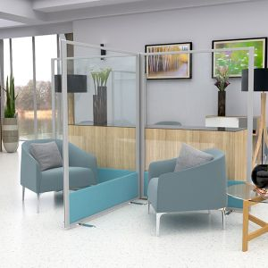 Fully Glazed Screens ideal for partitioning between seating, with acrylic top panel and acoustic base
