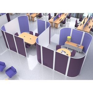 S shape acoustic pod, using acoustic screens and laminate screens