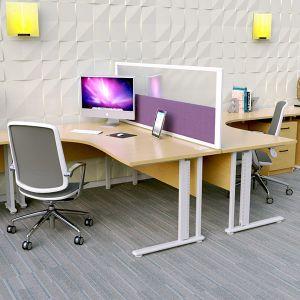 Morton+ Vision Desktop Screens. Acrylic top panels and acoustic base panel
