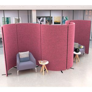 Nova curve, acoustic office screens curved to create bespoke seating pods.