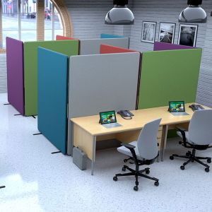 Nova Deluxe 2 Person Workbooths, made with Nova deluxe acoustic office partitions