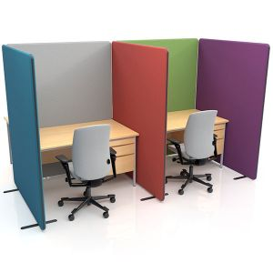Nova Deluxe Office Screens, with acoustic fabric and acoustic double layered foam.