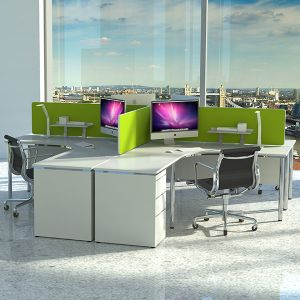 Omega acoustic desktop divider with green fabric, secures to desk with easyfix desk clamps.