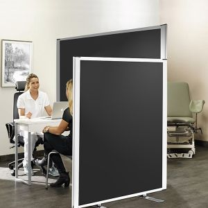 Safeguard Medical Partition Screens, using anti-bacterial fabric