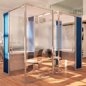 Qube Pod with acoustic panels and ceiling
