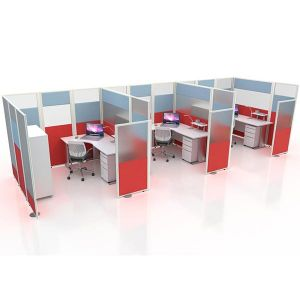 Acoustic and acrylic panels, made to create a 3 person working pod.