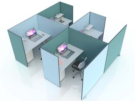 Budget Acoustic screens make the perfect privacy work pods in an open plan office