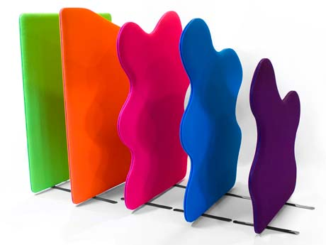 Delta Acoustic Office Screens add a bright, fun feel to your office whilst soaking up sound