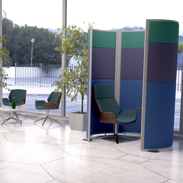 Concept Acoustic Partition Screens, acoustically tested office screening